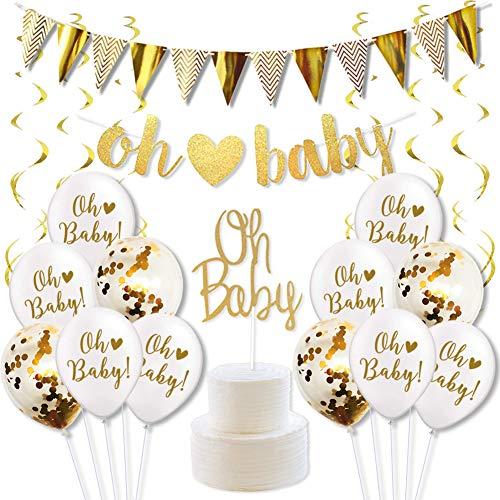 KREATWOW Baby Shower Dekorationen Gold und weiß Geschlecht Neutral Liefert Jungen oder Mädchen mit