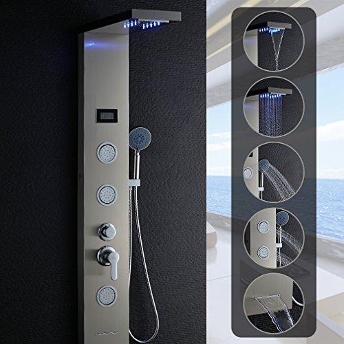 LED Duschpaneel Regendusche Edelstahl, OBEEONR Duschsystem 5 in 1 Wassertemperatur Display Duschsäule Duscharmatur mit Handbrause