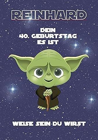 Geburtstagsgeschenk für Mann oder Frau - Motiv: Yoda (Star Wars) | Personalisiertes Geschenk zum Geburtstag für Männer für jedes Lebensjahr (Bspw. Jahrgang 1967, 50 (Personalisierte Einladungen)