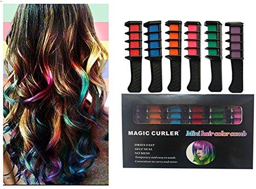 , woopower temporäre Haar Farbe Kamm–Haare waschbar Kreide für Haar dye-non Giftig und sicher für Kinder, für Party Fans Cosplay DIY (6Farben Pack (Waschbar Haar-spray-farbe)