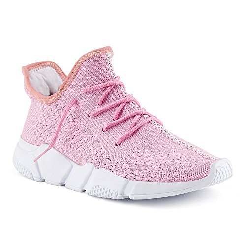 FiveSix Herren Damen Sneaker Sportschuhe Laufschuhe Textilschuhe Freizeitschuhe Strick Schnürschuhe Low-Top Unisex Schuhe Pink EU 37