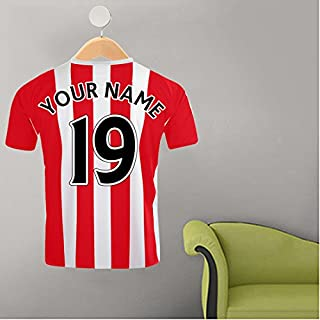 RED & WHITE STRIPE FOOTBALL SHIRT YOUR NAME & NUMBER CUSTOM PRINTED FOOTBALL SHIRT ON HANGER WALL STICKER