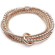 ANNIE HAAK Cantiere di oro rosa Pila sguardo braccialetto dell'involucro di stile a mano in rilievo in 14ct Rosa Perline Oro e vincolante Anello - Sterling D'oro In Rilievo Bracciali