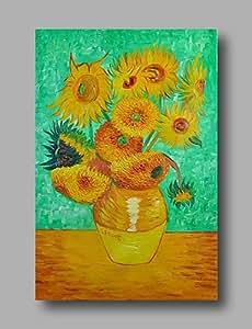 GQ peinture à l'huile abstraite toile van gogh repro tournesols peints à la main verte déco maison un panneau