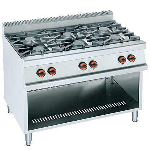 Macfrin R6T Cocina a Gas de 6 Fuegos y Estante 39 Kw