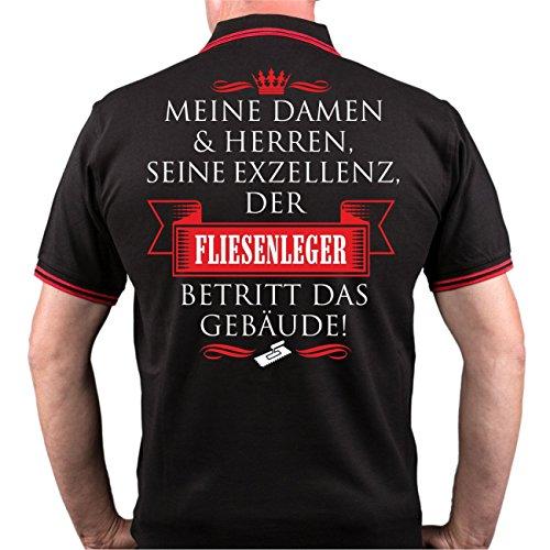 Männer und Herren POLO Shirt Seine Exzellenz DER FLIESENLEGER (mit Rückendruck) Schwarz/Rot