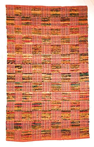 Mehrfarbiger, rosa Patchwork-Flachgewebe, indischer Flickenteppich, mehrfarbig, 120 x 180 cm
