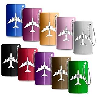Foonii Kofferanhänger Koffer- Tags mit Namensschild Adressschild Gepäckanhänger aus Metall, 10 Stück (Verschiedene Farben)