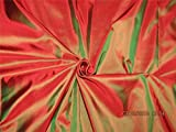 TheFabricFactory 100% Pure Seide Taft Stoff Rot X grün