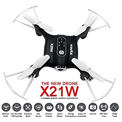 TIME4DEALS Syma X21W Wifi FPV Mini Drone with 720P HD Camera Live Video Real Time, Beginners Pocket UFO Quadcopter UAV 2.4G Remote Control RC Helicopter with Flight Plan Route Black by Time4deals