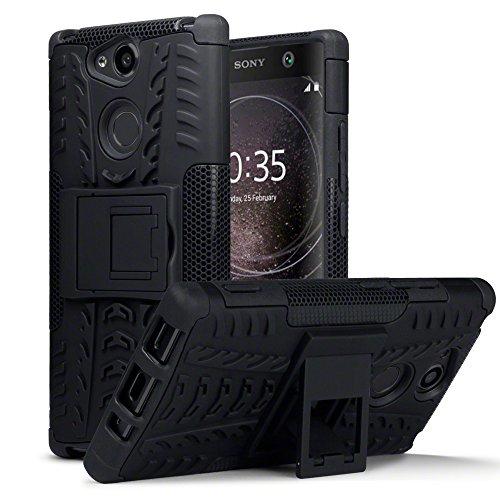 TERRAPIN, Kompatibel mit Sony Xperia XA2 Hülle, TPU + PC Schutzhülle mit Standfunktion Tasche - Schwarz