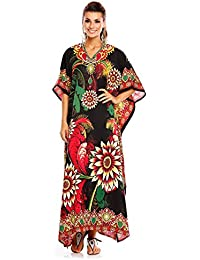 7f4ed8fc061c Looking Glam Damen Überdimensional Maxi Kimono Kaftan Tunika Kaftan Damen  Top Freie Größe, Rosa -