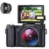 Videokamera Camcorder, GOXMGO Full HD 1080p 24MP Digital kamera 3,0-inch LCD Mini Video Camera mit Makro-Objektiv und Blitzlicht