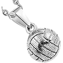 Bungsa® Volleyball Anhänger Edelstahl silber (Beach Net Pendant Kettenanhänger Amulett Medaillon Charm Beads Chirurgenstahl Damen Herren Schmuck)
