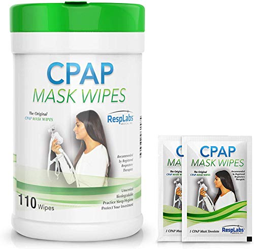 RespLabs Medical CPAP Mask Cleaning Wipes - [110 Pack Plus 2 Travel Wipes] - Biodegradable, Unscented, and Lint-Free -