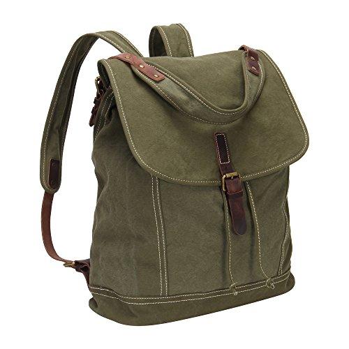 Imagen de veevan  grande / bolso al hombro de lona con correa de cuero genuino militar