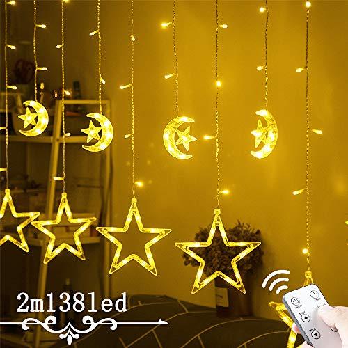 12 Sterne Lichtervorhang Weihnachtsbeleuchtung - Avoalre 138 LEDs Sternenvorhang, IP44 Außenlichterkette mit Sterne und Mond, Fernbedienung mit Timer 8 Modi und 4 Dimmung Weihnachtsdeko (2M)