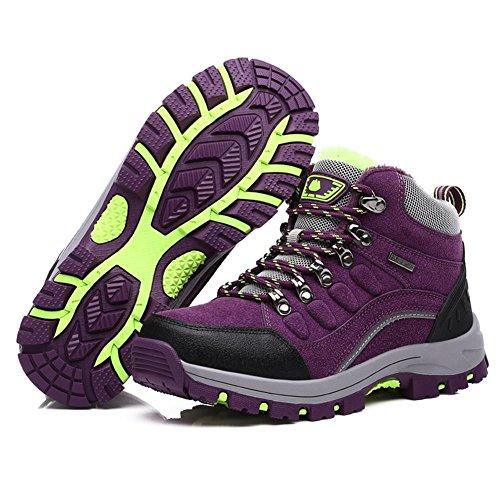 Suetar Scarpe da Trekking Uomo/Donna in Pelle Più Cotone Scarpe da Trekking Antiscivolo Impermeabili Autunno e Inverno Moda Scarpe Sportive all'aperto Purple