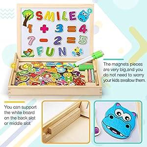 DOOKEY Puzzles Rompecabezas Magnéticos de Madera Juguete Educativo Tablero de Dibujo de Doble Cara para Niños Niña 3 Años 4 Años 5 Años - Acerca de 100 Piezas (Número y Letra) de DOOKEY