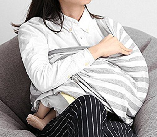 Kassy Pop Multi Use Nursing Breathable and Stretchy Breastfeeding Scarf and Shawl Cover for Baby Boy and Girl (Grey)