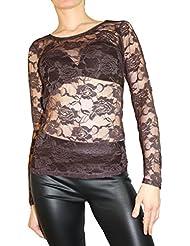 Mujer Top Party Top elegante Top de punta en figurbetonter langarme Camiseta tamaño s/m 36/38