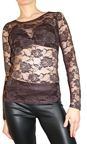 Damen Top Party top Elegantes Top aus Spitze in figurbetonter Langarme  Shirt Größe S/M