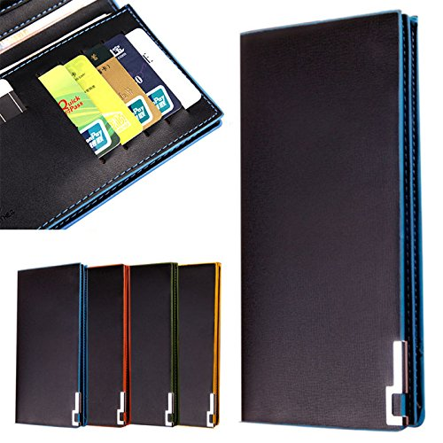 Männer Geldbörsen langen dünnen Brieftasche männlichen Geld Geldbörsen Portemonnaie BU Tefamore hochklappen (GELB) Blau