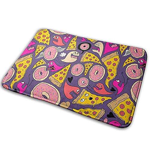 ghkfgkfgk Monster Pizza Doodle Non-Slip Machine-Washable Doormat Bathroom Kitchen Rug Front Door Mats 23.6(L) X 15.7(W) Inch (High Monster Halloween-party-ideen)
