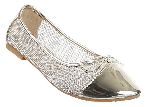 Damen-Schuhe Ballerinas | elegante Slipper mit Blockabsatz und Schleife in verschiedenen Farben und Größen | Schuhcity24 | perforierte Pumps Gold