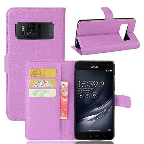 Tasche für Asus Zenfone AR ZS571KL Hülle , Ycloud PU Kunstleder Ledertasche Flip Cover Wallet Case Handyhülle mit Stand Function Credit Card Slots Bookstyle Purse Design lila