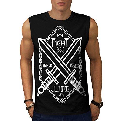 Militär-armee-scharfschütze-t-shirt Top (Kampf Leben Schwert Gaming Schwert Schlägerei Herren S Ärmellos T-shirt | Wellcoda)