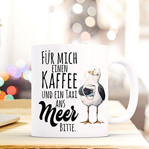 ilka parey wandtattoo-welt Lustige Tasse Becher Kaffeetasse mit Möwe Spruch Kaffeebecher Geschenk Spruchbecher .Taxi ans Meer ts643 (Wandtattoo Möwen)