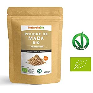 Maca Bio en Poudre [ Gélatinisée ] 400g | Organic Peruvian Maca Root Powder | 100% Biologique, Naturel et Pur, Produit au Perou, extrait de Racine de Maca Bio | NATURALEBIO