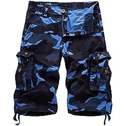 AYG Bermudas Camuflaje Hombre Cargo Shorts(dark blue camo,38)