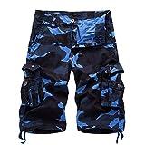 AYG Herren Cargo Shorts Bermudas Schwarz Baumwolle Shorts Wandern 29-40, A083 Blau, W36(DE 52/XL)/Taille:91-94cm