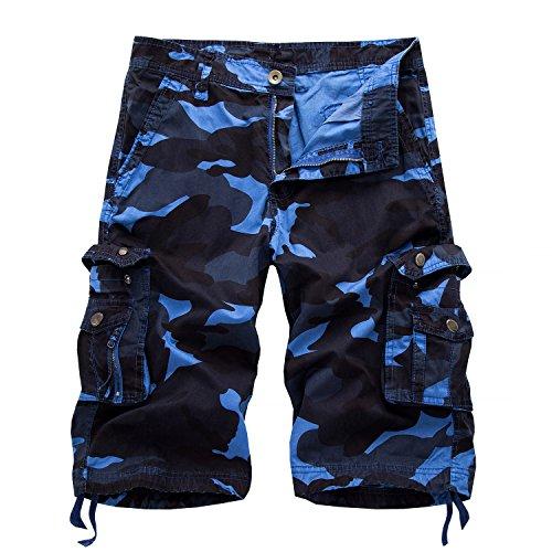 AYG Herren Cargo Shorts Bermudas Schwarz Baumwolle Shorts Wandern 29-40, A083 Blau, W32(DE 48/M)/Taille:81-84cm