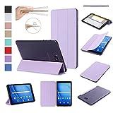 ISIN Housse pour Tablette Série Premium PU Cuir Smart Coque Étui pour Samsung Galaxy Tab A 10.1 SM-T580N T585N Android 6.0 Marshmallow Tablet (Violet)