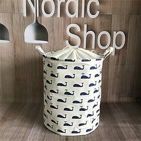 Fieans Leinen Wäschekorb Stoff Haushalt Organizer Korb Baumwoll Wäschekorb für ihre Schmutzwäsche 45 x 35cm-Marine Wal