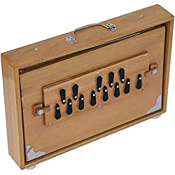 "Musicals Shruti Box Total Wood Size (15"" X 10"" X 3"") Inches - 440 Hz, Gig Bag,Teak Color, Key -C To C (Lower Tone- Male Type Reed), Sur Peti, Surpeti, For Yoga, Bhajan, Kirtan, Mantra, Drone, V"