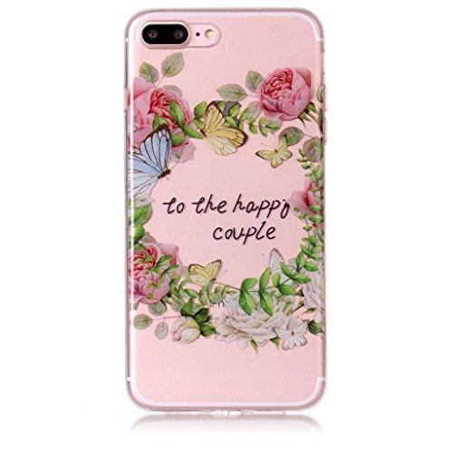 Per iPhone 8 Plus / iPhone 7 Plus Cover , YIGA nero fiore Cristallo Trasparente Silicone Morbido TPU Case Shell Caso Protezione Custodia per Apple iPhone 8 Plus / iPhone 7 Plus (5,5 pollici) XS78