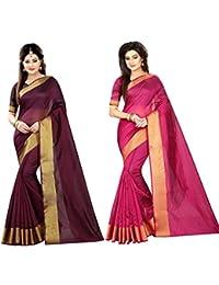Indian Fashionista Women's Plain Cotton Combo Sarees (Purple, MHVRWINEPINKCOMBO)