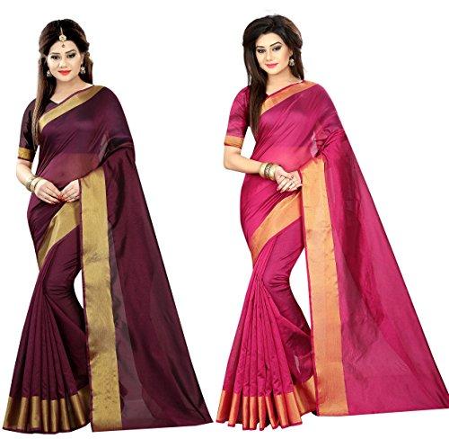 Indian Fashionista Women's Wine & Pink Plain Cotton Combo Sarees (Dailywear Saree)