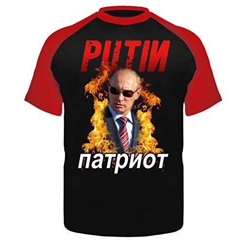 Männer und Herren T-Shirt Putin PATRIOT Schwarz/Rot