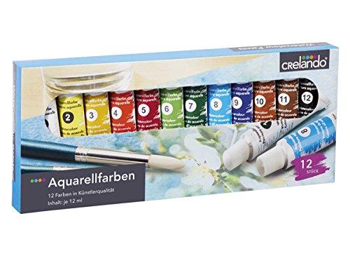 CRELANDO® Aquarellfarben, 12-teilig