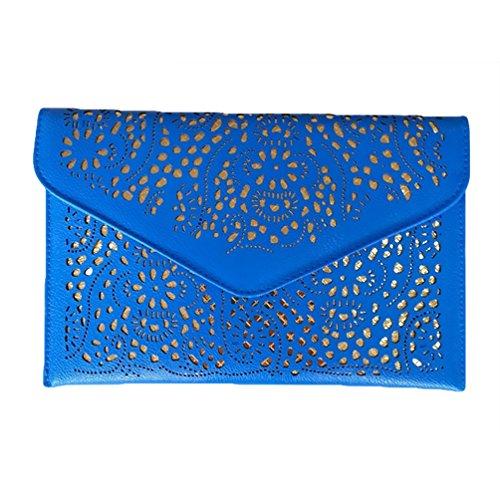 YuanDian 2017 PU Nuove Envelope Bag Catene Wallet Del Sacchetto Del Messaggero Al Neon Caramella Borse Blu
