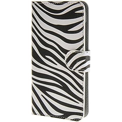 MOONCASE Zebra style Custodia in pelle Protettiva Portafoglio Flip Case Cover per Huawei Ascend Y600