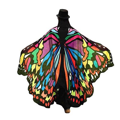m, Dasongff Damen Weiches Gewebe Pfau Schmetterling Flügel Schal Umschlagtücher Nymphe Pixie Poncho Kostüm Zubehör für Show / Daily / Party (197*125CM, Multicolor) (Erwachsenen Kostüm Pfau)