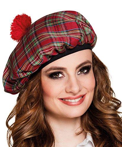 Karneval Klamotten Kostüm Schottenmütze rot kariert Zubehör Fasching - Schottland Kostüm