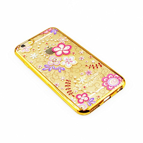 iPhone 6S Plus Hülle Silicone,iPhone 6S Plus Hülle Glitzer,iPhone 6S Plus / 6 Plus Hülle TPU Case Schutzhülle Silikon Crystal Clear Case,EMAXELERS iPhone 6S Plus Hülle Bunte Blumen Schmetterling Muste Gold TPU 5
