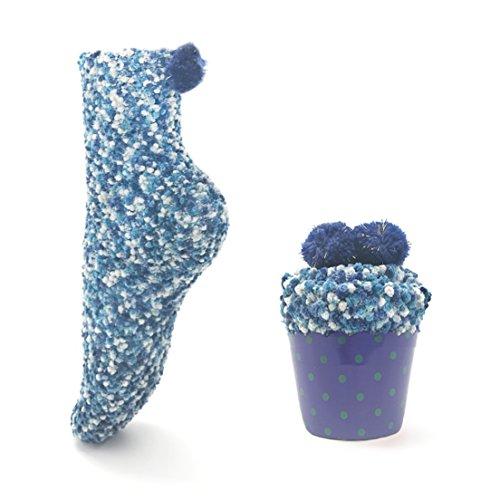 Leapop 1 oder 3 Paare Damen Mädchen Socken Cupcakes Design Flauschig Gemütliche Weiche Dicke Warme Weihnachtssocken mit Geschenkbox (Dunkelblau (1 Paar))